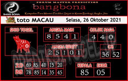 Prediksi Bangbona Toto Macau Selasa 26 Oktober 2021