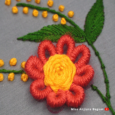 Cute Hand Embroidery Flower Tutorial, Bullion Knot Embroidery Design