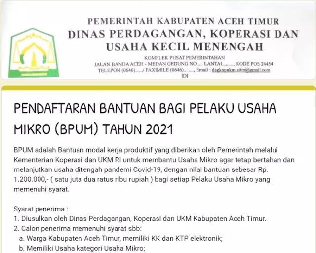 BPUM Kabupaten Aceh Timur
