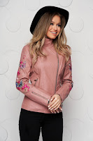 Jacheta roz din piele ecologica cambrata