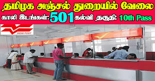 TN Post Office Recruitment 2021 501 Postman Posts
