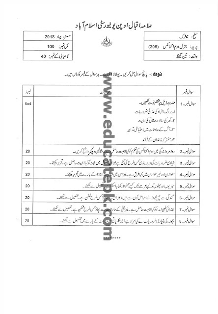 AIOU Old Paper 209 Spring 2018