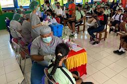 150 Siswa SMP Negeri 1 Tansel Tertib Ikuti Vaksin Massal