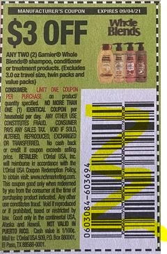 """Garnier Whole Blends Shampoo, Conditioner or Treatment products Coupon from """"SAVE"""" insert week of 8/22/21."""