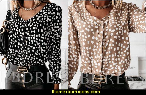 Polka Dots  Women's Blouse womens fashion girls fashion womens tops