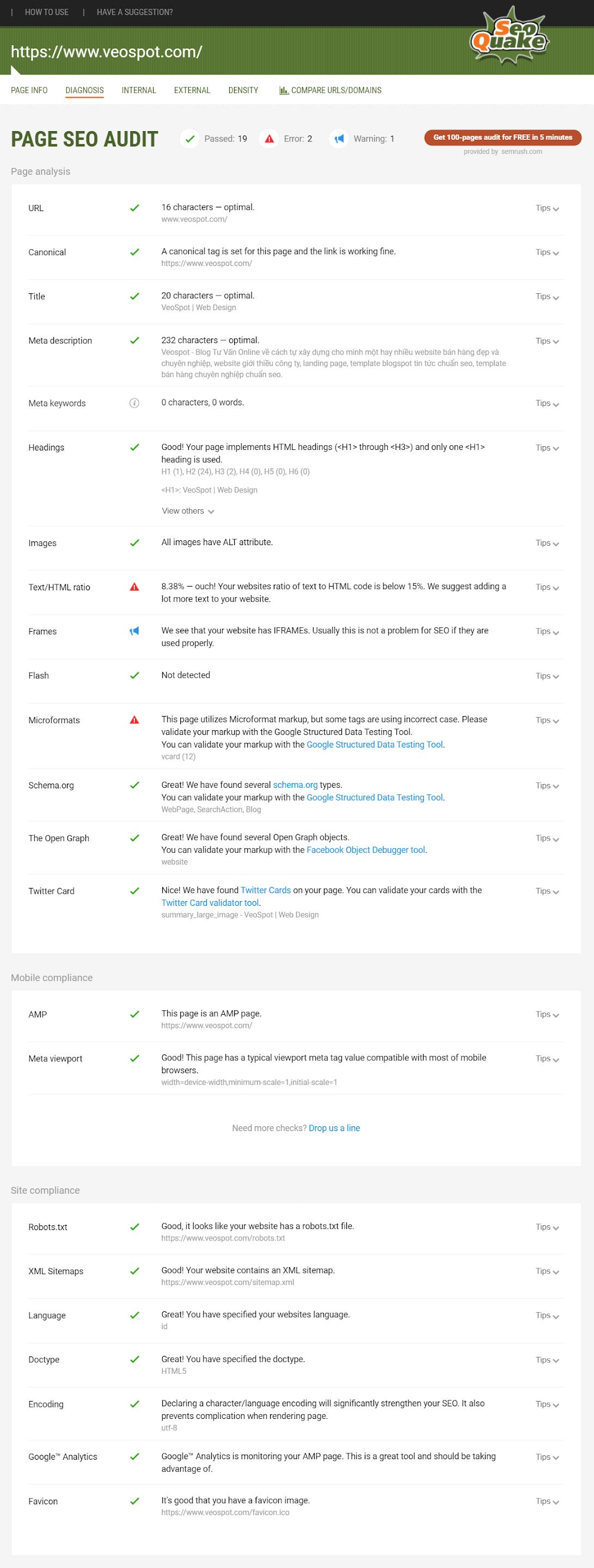 Điểm SEO check thử về template blogspot Goo AMP