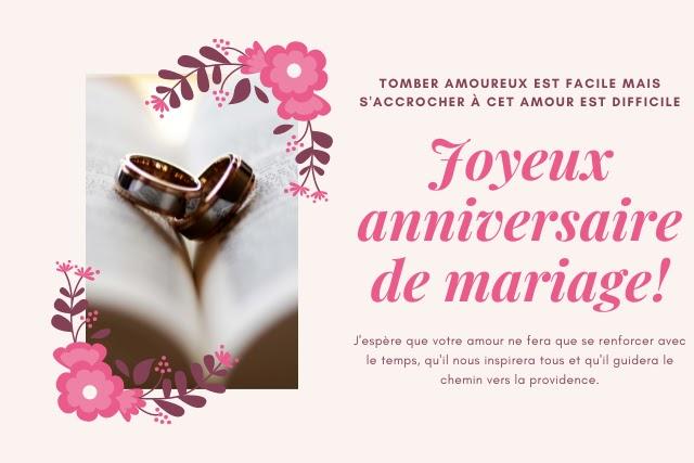 Joyeux anniversaire de mariage pour un couple