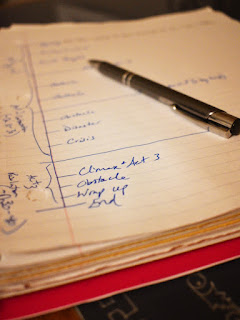close up image from Alexia's spiral bound notebook where she's drawn out a three act graph to fill in with plot details