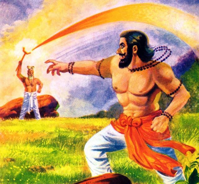 விஷ்வாமித்ரரை நோக்கி தண்டம் உயர்த்திய வசிஷ்டர்
