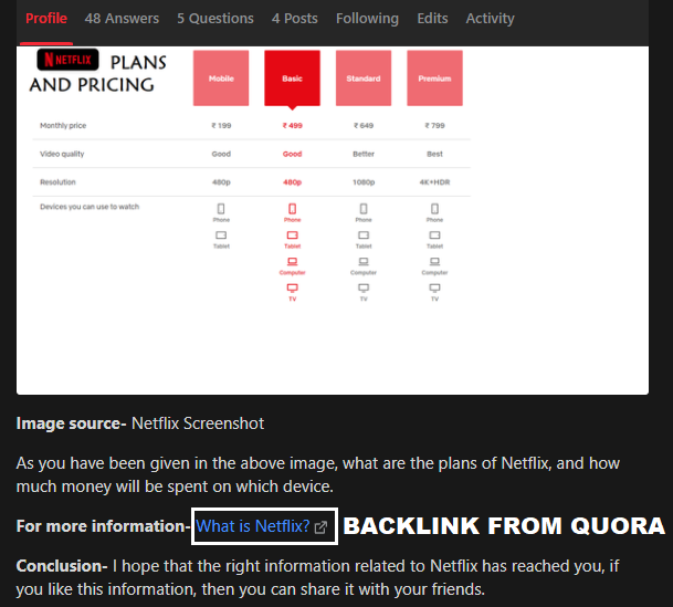 Backlink From Quora