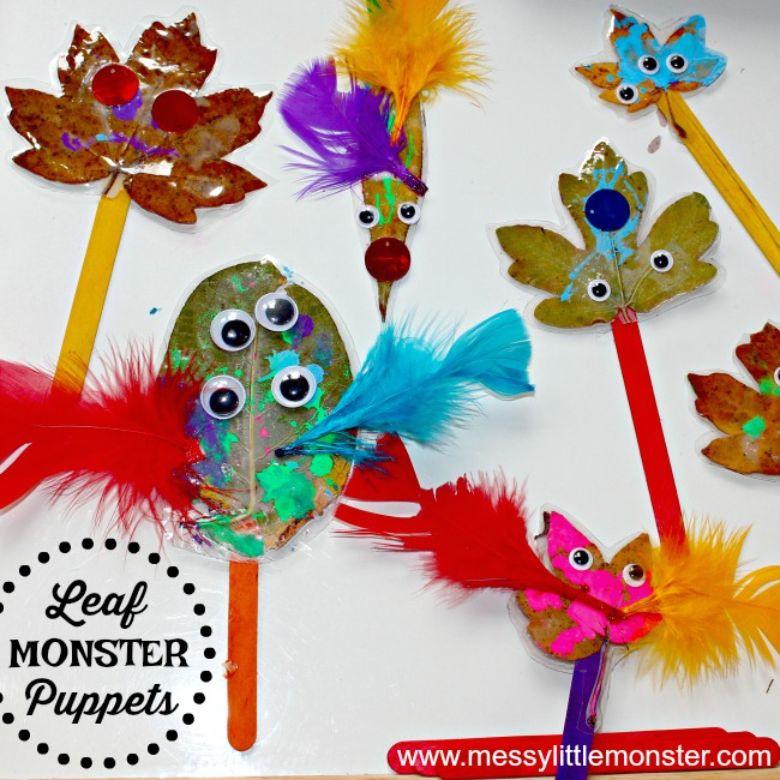 Leaf monster puppets craft