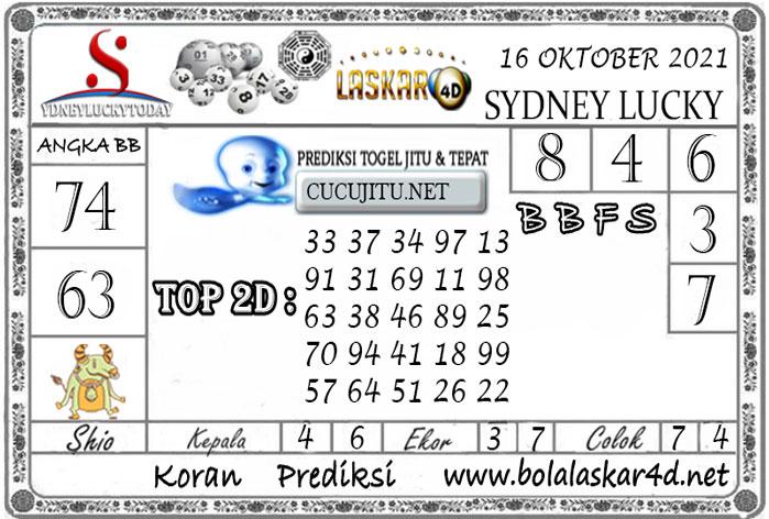 Prediksi Togel Sydney Lucky Today LASKAR4D 16 OKTOBER 2021