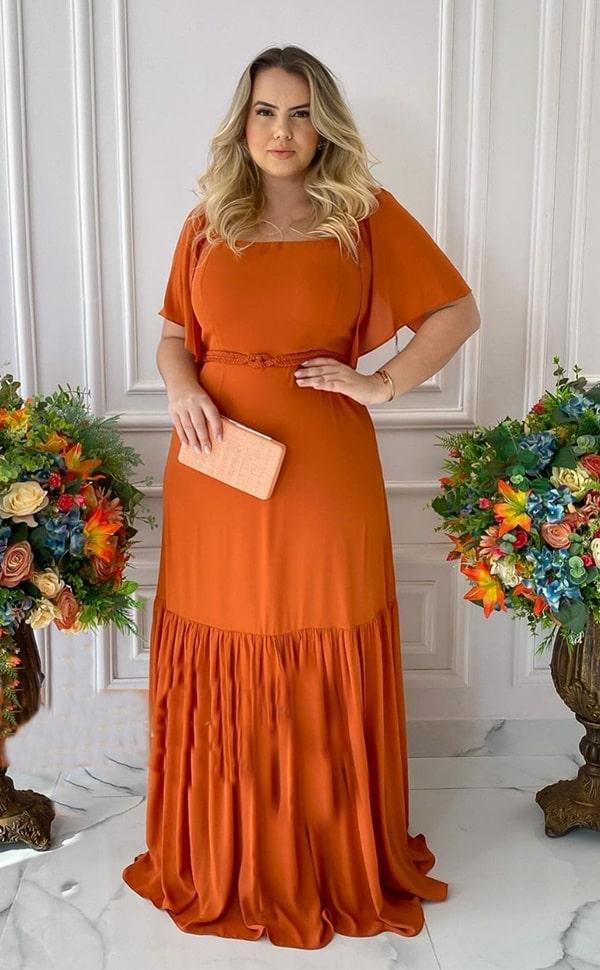 vestido de festa plus size longo terracota