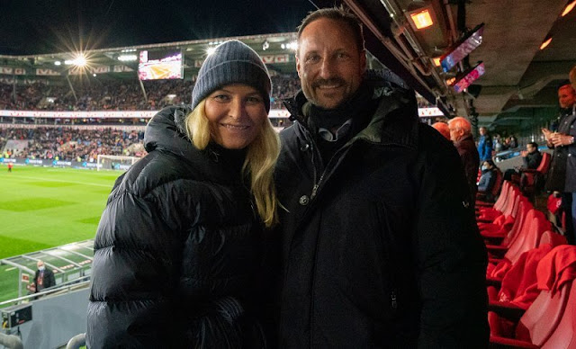 Crown Prince Haakon and Crown Princess Mette-Marit watched FIFA World Cup European football match between Norway vs Montenegro