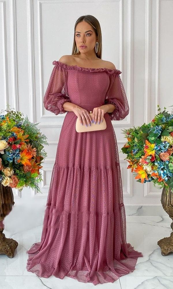 vestido longo rosa antigo com mangas para madrinha de casamento