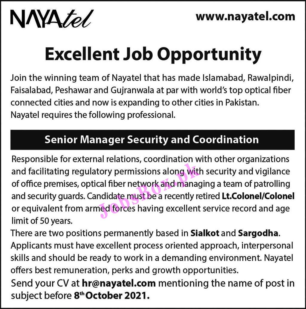 Nayatel Jobs 2021 Latest Recruitment – www.nayatel.com