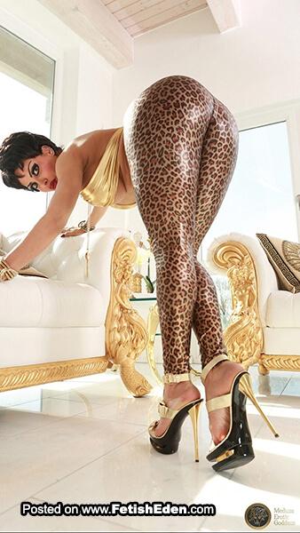 Bent-over brunette wearing leopard print vinyl leggings