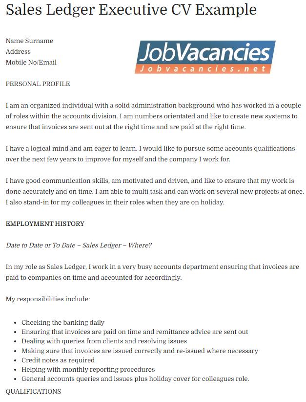 Sales Ledger Executive CV Example