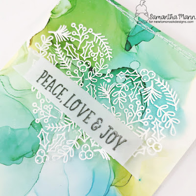 Peace Love and Joy Card by Samantha Mann for Newton's Nook Designs, Alcohol Inks, Christmas Card, Card Making, Machine Stitching, Sewing, Christmas #newtonsnook #newtonsnookdesigns #christmas #christmascards #cardmaking #alcoholinks