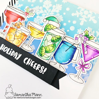 Holiday Cheers Card by Samantha Mann for Newton's Nook Designs, Cocktails, Drinks, Winter, Christmas, Christmas Card, Card Making, Handmade Cards #newtonsnook #newtonsnookdesigns #christmas #cocktails #christmascard #distressinks