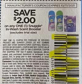 """Snuggle In-wash Scent Boosters Coupon from """"SAVE"""" insert week of 9/26/21."""
