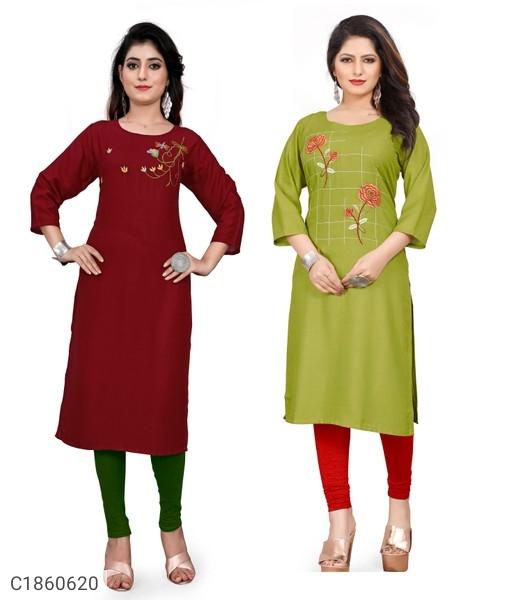 Embroidered Rayon Kurti Buy 1 Get  1 Free | Kurti For Women Online Shopping | Best Kurti For Women |