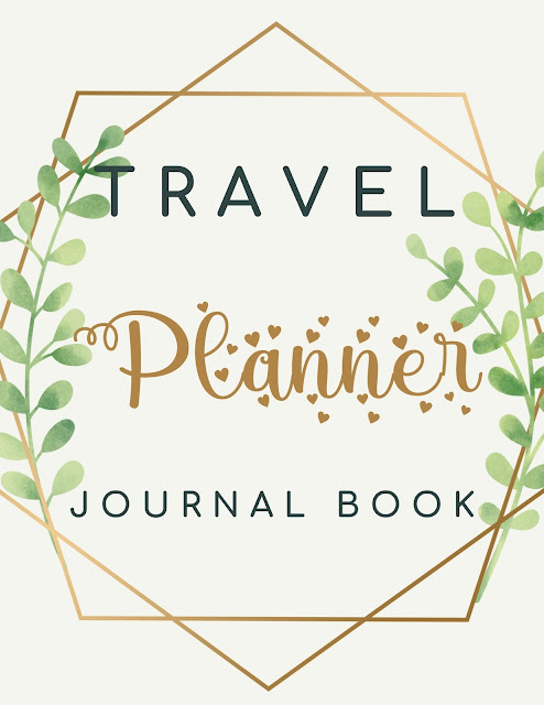Travel Planner Journal Book - Green Gold Lines Abstract Modern Cover - Paperback