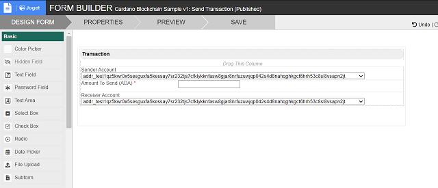 Send Transaction Form Design