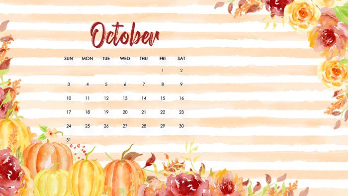 Free October Desktop Calendar