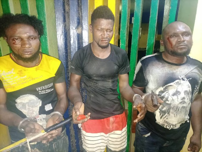 Three Armed Robbery Suspects Arrested In Mowe, Ogun State (Photo)