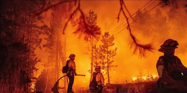 Firefighters put out a fire at the Coldor fire in Twin Bridges, California, USA on August 29, 2021. Illustration: AFP
