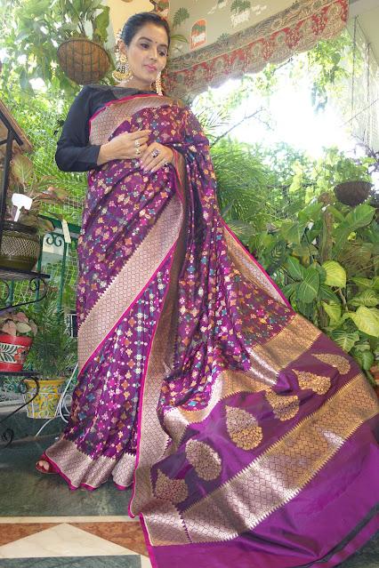 Banarasi soft silk Ektara saree with phulkari inspired multicolor kaduwa weave