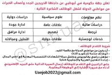 تعلن جهة حكومية عن رغبتها بتعيين عدد من الوظائف للذكور والاناث في أبوظبي