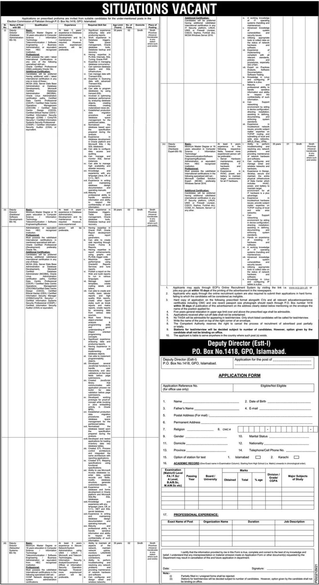 Election Commission of Pakistan ECP Jobs 2021 – www.ecp.gov.pk