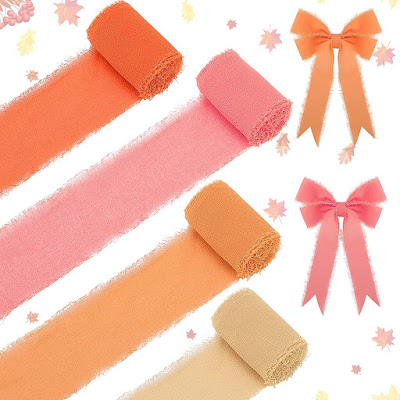 Orange Pink Chiffon Ribbons for DIY Crafts and Party Decorations