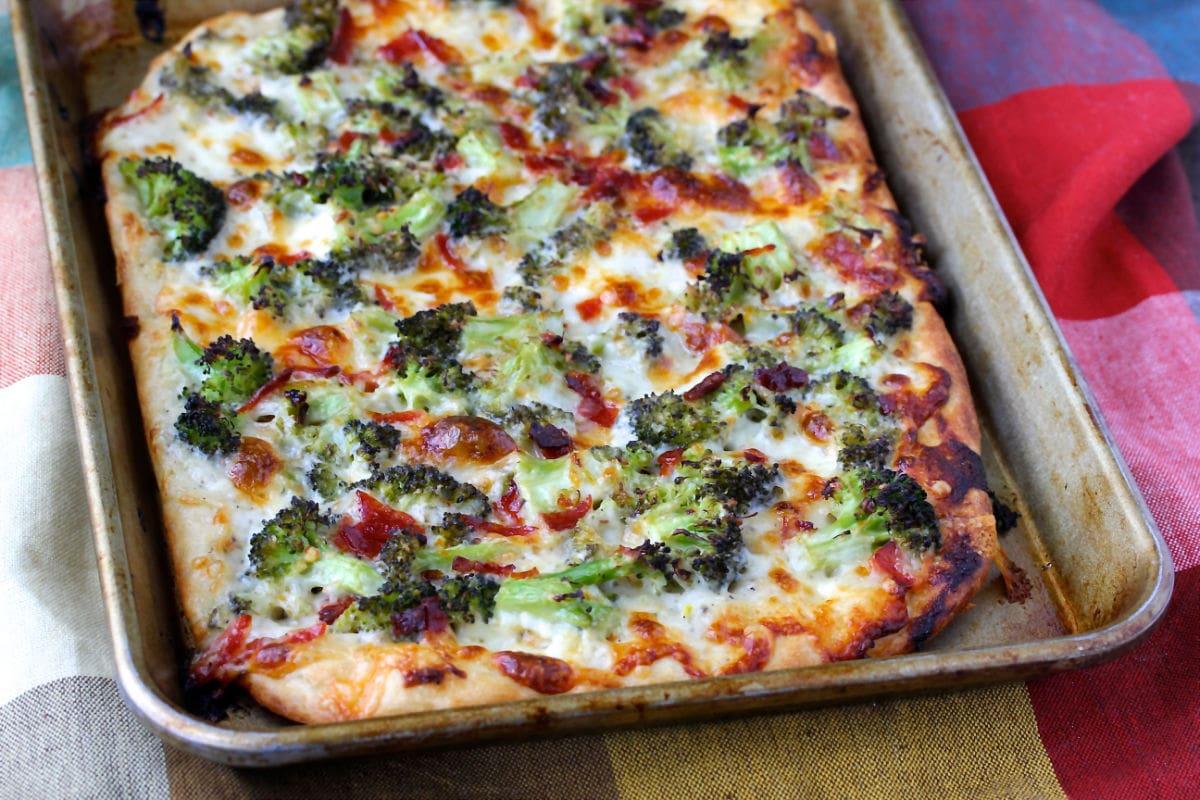 Broccoli Pizza with Provolone.