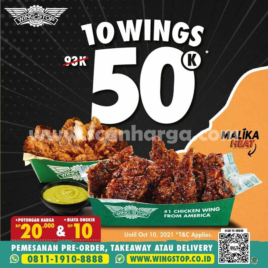 Promo Wingstop Harga Spesial 10 Wings hanya Rp. 50.000 saja