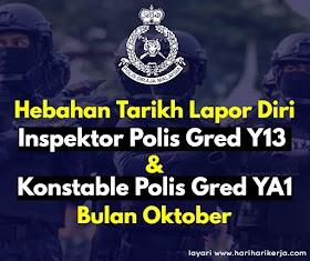 Hebahan Tarikh Lapor Diri Inspektor Polis Gred Y13 & Konstable Polis Gred YA1