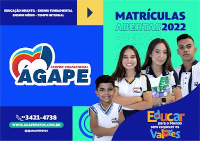 O Colégio Ágape, comunica que as MATRÍCULAS para o ano letivo de 2022 já se encontram abertas.