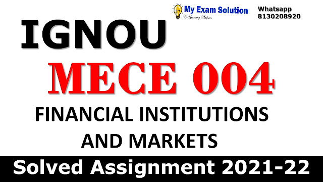 MECE 004 Solved Assignment 2021-22