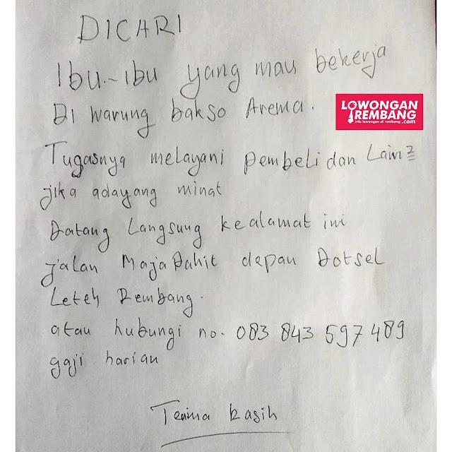 Lowongan Kerja Karyawati Bakso Arema Rembang