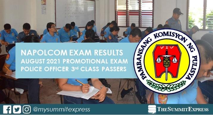 3rd Class (Senior Police Officer): August 2021 NAPOLCOM exam result