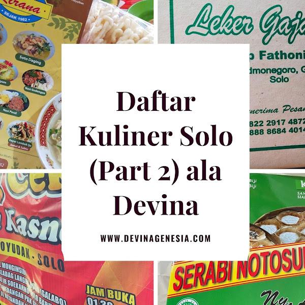 Daftar Kuliner Solo (Part 2) ala Devina