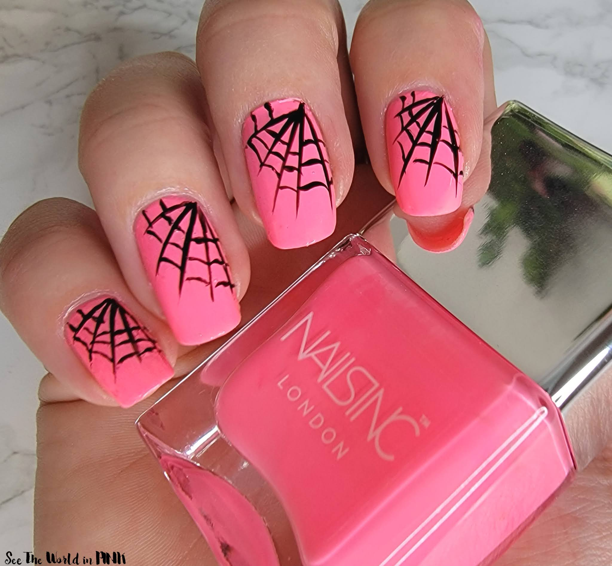 Manicure Monday - Pink Spider Web Nails