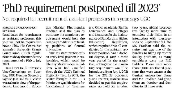 UGC extend the date of applicability of PhD as mandatory qualification for direct recruitment of Assistant Professors [for 2 Years]