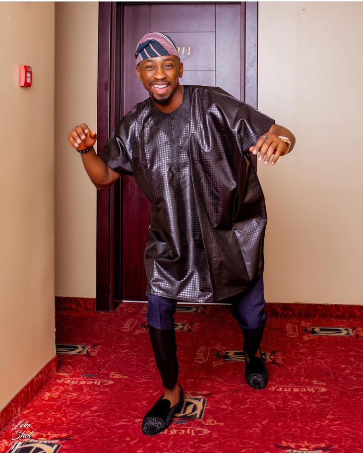 """BBNaija: Saga steps out for his media round Day 3, says """"Omoluabi is on the move again"""" (See pictures)"""
