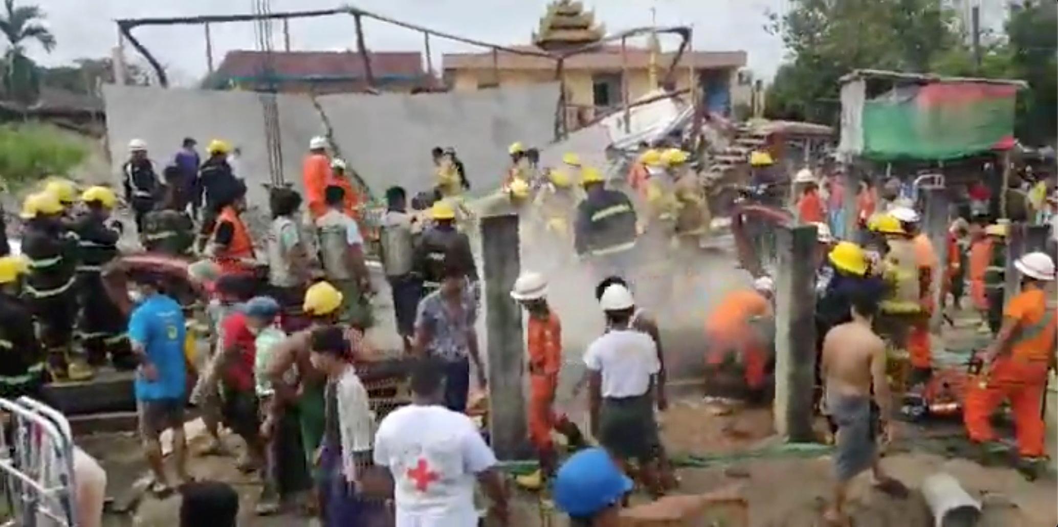 Kebakaran Gedung Di Yangon-Myanmar Menewaskan 1 Orang Pekerja Konstruksi Bangunan