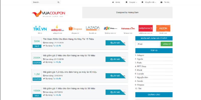 Mẫu website lấy mã giảm giá miễn phí