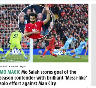 """أفادت صحيفة """"ذا صن"""" البريطانية ، عن الهدف العالمي للنجم المصري محمد صلاح الذي سجله ليفربول"""