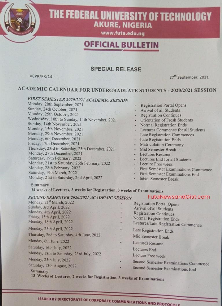 FUTA Academic Calendar for 2020-2021 - FutaNewsandGist